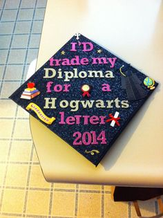 My graduation cap! I will also be walking with my wand! Humboldt State class o. My graduation ca Funny Graduation Caps, Graduation Cap Designs, Graduation Cap Decoration, Graduation Day, Graduation Pictures, Harry Potter Grad Cap, Grad Hat, Cap Decorations, Grilling Gifts