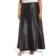 Plus Size Women's Alex Evenings Satin Long Circle Skirt ($89) ❤ liked on Polyvore featuring plus size women's fashion, plus size clothing, plus size skirts, black, plus size, long satin skirt, satin skirt, flared skirt and satin circle skirt