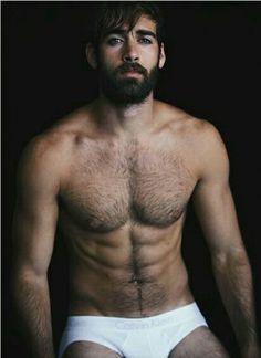 Hot bearded underwear model