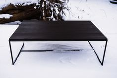 Black coffee table with metal legs Black Coffee Tables, White Oak, Solid Wood, Legs, Interior Design, Metal, Furniture, Home Decor, Nest Design