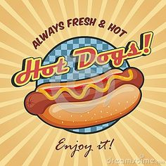 American Hot Dog Poster Template Stock Vector - Image: 39491660