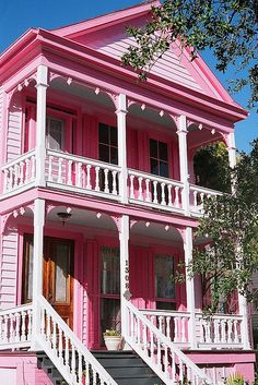 Galveston pink house - Photography by fotolilith, via Flickr