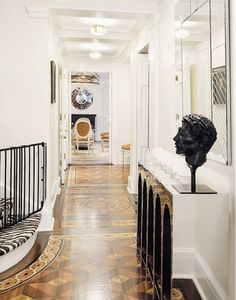 Traditional black and white foyer