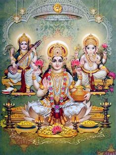 Lakshmi, Saraswati, and Parvati are typically conceptualised as distinct in most of India, but in states such as West Bengal and Odisha, they are regionally believed to be forms of Durga. Durga Images, Lakshmi Images, Radha Krishna Images, Shiva Art, Hindu Art, Chakras, Saraswati Goddess, Lord Ganesha Paintings, Krishna Statue