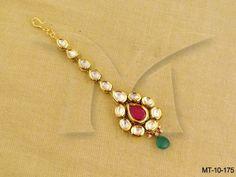 MT-10-175 || Paanshape Ruby Green Kundan Mang Tika