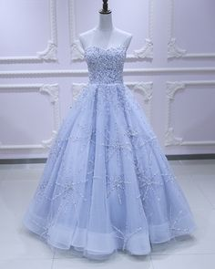Sweetheart neck light blue tulle sequins long evening dress, long prom dress from Sweetheart Dress Bridesmaid Dresses, Prom Dresses, Formal Dresses, Dress Prom, Color Celeste, Dream Dress, Dress Making, Ball Gowns, Evening Dresses
