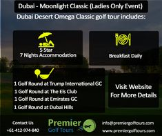 Premier Golf Tours focuses on planning and booking customised golf tours and golf travel to top destinations and marquee events. Golf Trips, Dubai Golf, Lpga Tour, Marquee Events, Trump International, Classic Golf, Dubai Desert, Kings Island
