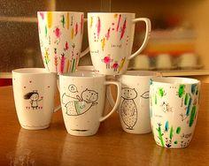 Hand painted mugs - tazas pintadas a mano / Natalí Sejuro Aliaga - Natalúdica®