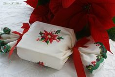 Gift wrapped in vintage hankie by Decor To Adore.