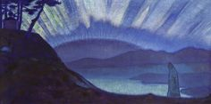 Bridge of Glory, 1923 by Nicholas Roerich. Symbolism. cloudscape. Nicholas Roerich Museum, New York, USA