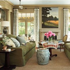 southern living idea house in senoia 2010-great living room with olive and aqua