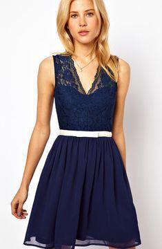 Navy Sleeveless V Neck Belt Lace Dress US$35.44