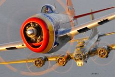 Republic P-47 Thunderbolt and Boeing B-17 Flying Fortress