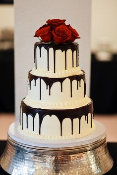 dripped cakes | Chocolate drip wedding cake, gorgeous! I just want cake!
