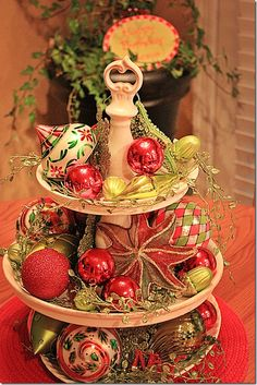 I have a two-tiered cookie plate that I don't use all that often.  I never thought of using it in this way -- beautiful!