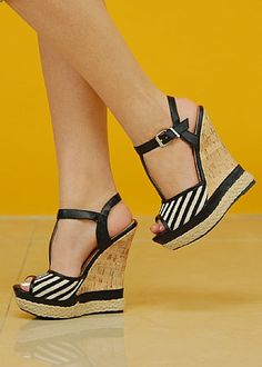 Juniors T Strap Cork Wedge (Black) in SHOES