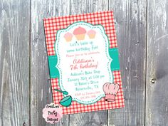 Baking Birthday Party Invitation - Cooking Party - $15.00 - Save 30% today by entering Coupon Code PIN30 at Checkout!