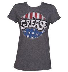 Ladies Grease USA Flag Rolled Sleeve Boyfriend T-Shirt