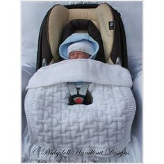 Knit Furry & Chunky Basketweave Car Seat Blanket Pattern Hall For the winter. Baby Car Seat Blanket, Baby Car Seats, Knitted Baby Blankets, Baby Blanket Crochet, Pram Blankets, Crochet Baby Cocoon, Knitting For Kids, Baby Knitting, Double Knitting