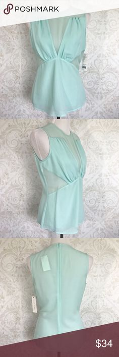 Cooper & Ella mint sheer panel shell / blouse Pics don't do it justice! Gorgeous soft mint green stretch poly blend that feels and behaves like silk. Shirring at waist and collarbone. Sheer panels at shoulders and sides. Hidden zip back with hook and eye. NWT; never worn. Cooper & Ella Tops Blouses