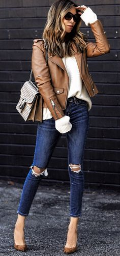 spring fashion / Brown Leather Jacket & Navy Destroyed Skinny Jeans