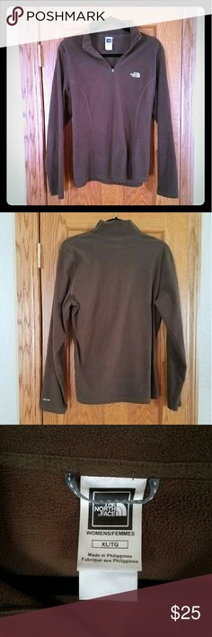 Women's XL Northface pullover fleece Light weight, chocolate brown pullover fleece. Perfect condition. Worn once. XL but fits more like a loose L North Face Tops Sweatshirts & Hoodies
