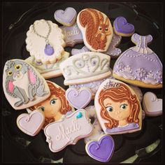Sofia the first cookies! By Icings by Ang. I will be ordering these for Madeline's birthday. These are incredible.