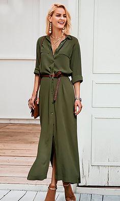 Love Me Forever Long Sleeve Button Front Split Casual Maxi Shirt Dress – Indie XO Long Shirt Outfits, Casual Dress Outfits, Trendy Dresses, Casual Dresses For Women, Men Casual, Green Dress Outfit, Green Dress Casual, Vestidos Color Verde Militar, Maxi Shirt Dress