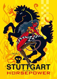 PinUp Speedangel with a wild Stuttgart horse (see their coat of arms) - Film Commission Stuttgart - Postcard Design