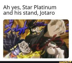 Ah yes, Star Platinum and his stand,Jotaro - iFunny :) Jojo's Bizarre Adventure, Jojo's Adventure, Jojo Anime, Jotaro Kujo, Jojo Memes, Fan Art, Jojo Bizarre, Chibi, Really Funny