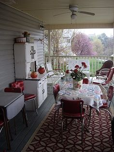 beautiful summer kitchen for the back porch or screen porch.
