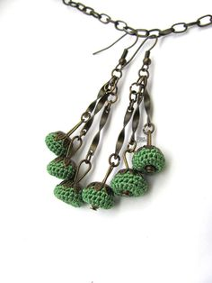 Handmade spring green silk crochet dangle earrings por ShopDeLorai, $14.00