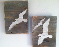 Arte de pared de gaviota de mar rústico mano por TuckersMercantile