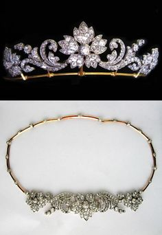 A VICTORIAN DIAMOND FLOWER TIARA. A stunning Victorian diamond tiara, the tiara comprising three diamond flower heads linked by diamond scroll work of a foliate design, encrusted throughout with old brilliant-cut diamonds, estimated to weigh a total of 15 carats, all set in silver to a yellow gold mount, with detachable diamond-set necklace fittings and tiara frame, gross weight 32.45, circa 1870