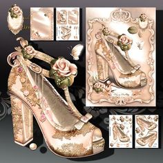 Beautiful Cream Vintage Shoes with Lace and Roses on Craftsuprint designed by Atlic Snezana - Beautiful Cream Vintage Shoes with Lace and Roses: 5 sheets for print with decoupage for 3D effect plus few sentiment tags (for your own personal text) - Now available for download!