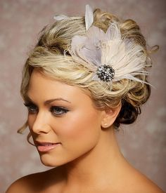 Grey Bridal Head Piece Champagne Peacock Feather by GildedShadows, $64.00
