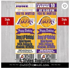 4063c1f5c Los Angeles Lakers Basketball Ticket Style Invitation. Customized ...