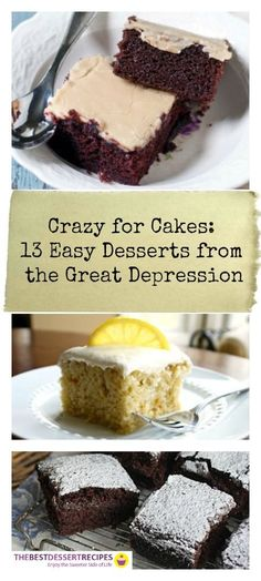 13 Easy Desserts from the Great Depression | These easy cake recipes are SO good! Wacky / crazy cakes are so easy to make because they don't include eggs!
