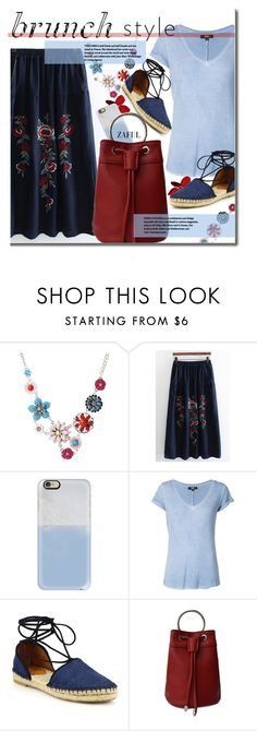 """""""Brunch With Friends"""" by beebeely-look ❤ liked on Polyvore featuring Casetify, Paige Denim, Frye, skirt, floralprint, brunch, springfashion and zaful"""