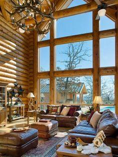 Huge windows cabin lodge lifestyle sofa comfort classy Log Home Decorating, Log Homes, Wood Cabins, Wood Houses, Wooden Houses, Log Home, Log Cabin Homes, Wood Homes, Log Houses