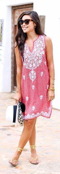 #summer #fashion / red boho dress