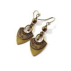 Antique Bronze With Teardrop Earrings, Artisan Brass Earrings For Everyday Wear, Dangle Earrings Antique Brass