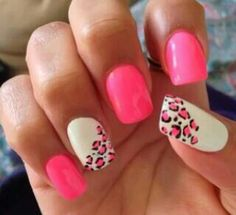 Pink leapord print nails
