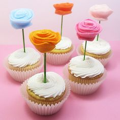 felt flower cupcake toppers 1 | Flickr - Photo Sharing!
