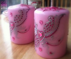 Love Hearted Candle set  Baby pink(small), love heart gems, silver designs  For orders/queries; sunnahinspired@gmail.com