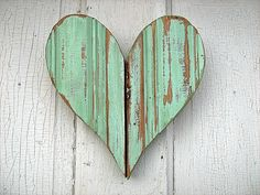 Recycled Wood Mint Green Heart by woodenaht