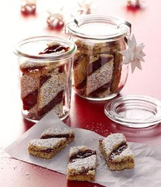 Linzer stripe recipe - Recipe for Linzer strips when eating and drinking. A recipe for 85 people. And other recipes in the - Christmas Sweets, Christmas Baking, Christmas Recipes, Other Recipes, Sweet Recipes, Austrian Cuisine, Sweet Bakery, Xmas Cookies, German Cookies
