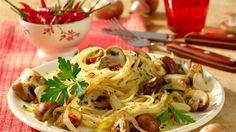 Spaghettini mit scharfen Chili-Champignons