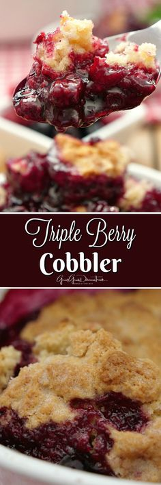 Triple Berry Cobbler is loaded with delicious summer berries, blackberries, blueberries and raspberries, and has a cake like topping. Easy Cherry Cobbler, Triple Berry Cobbler, Fruit Cobbler, Cobbler Recipe, Mixed Berry Cobbler, Blackberry Cobbler, Pie Dessert, Dessert Recipes, Fruit Recipes