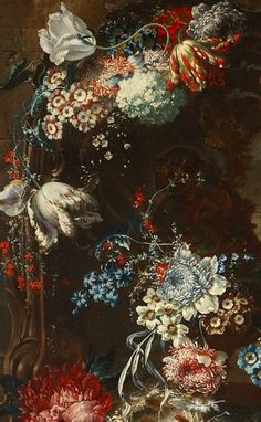 Jean-Baptiste Belin  Still Life with Cherry Blossoms and Tulips (detail). Welcome to my gardening blog http://www.facebook.com/flowerindoorgardening #tulip  #flower #bulb